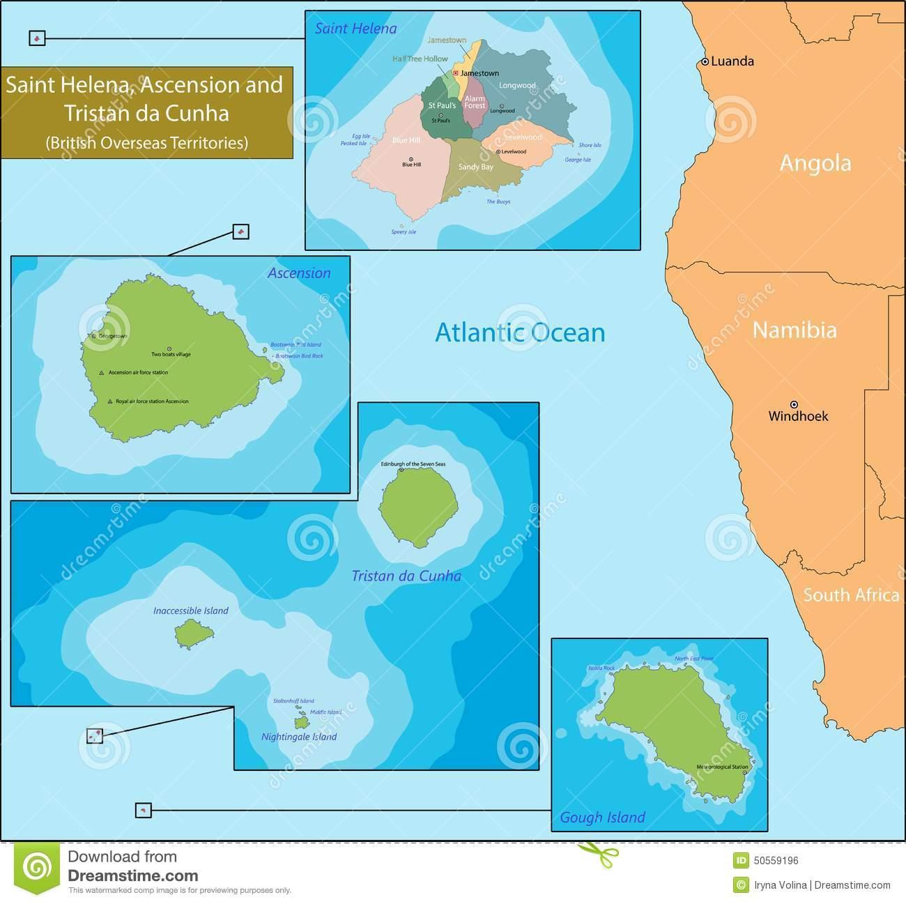 Saint Helena, Ascension And Tristan Da Cunha Map Stock Vector.