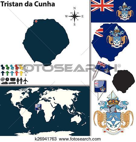 Clipart of Map of Tristan da Cunha k26941763.