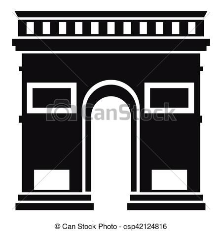 Vector Clip Art of Triumphal arch icon, simple style.