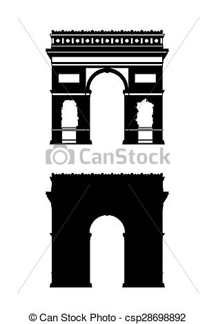 Stock Illustration of paris triumphal arch silhouettes set.