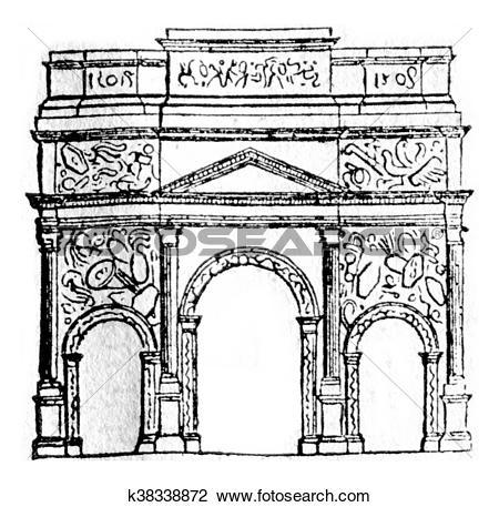 Clip Art of Triumphal Arch of Orange, vintage engraving. k38338872.