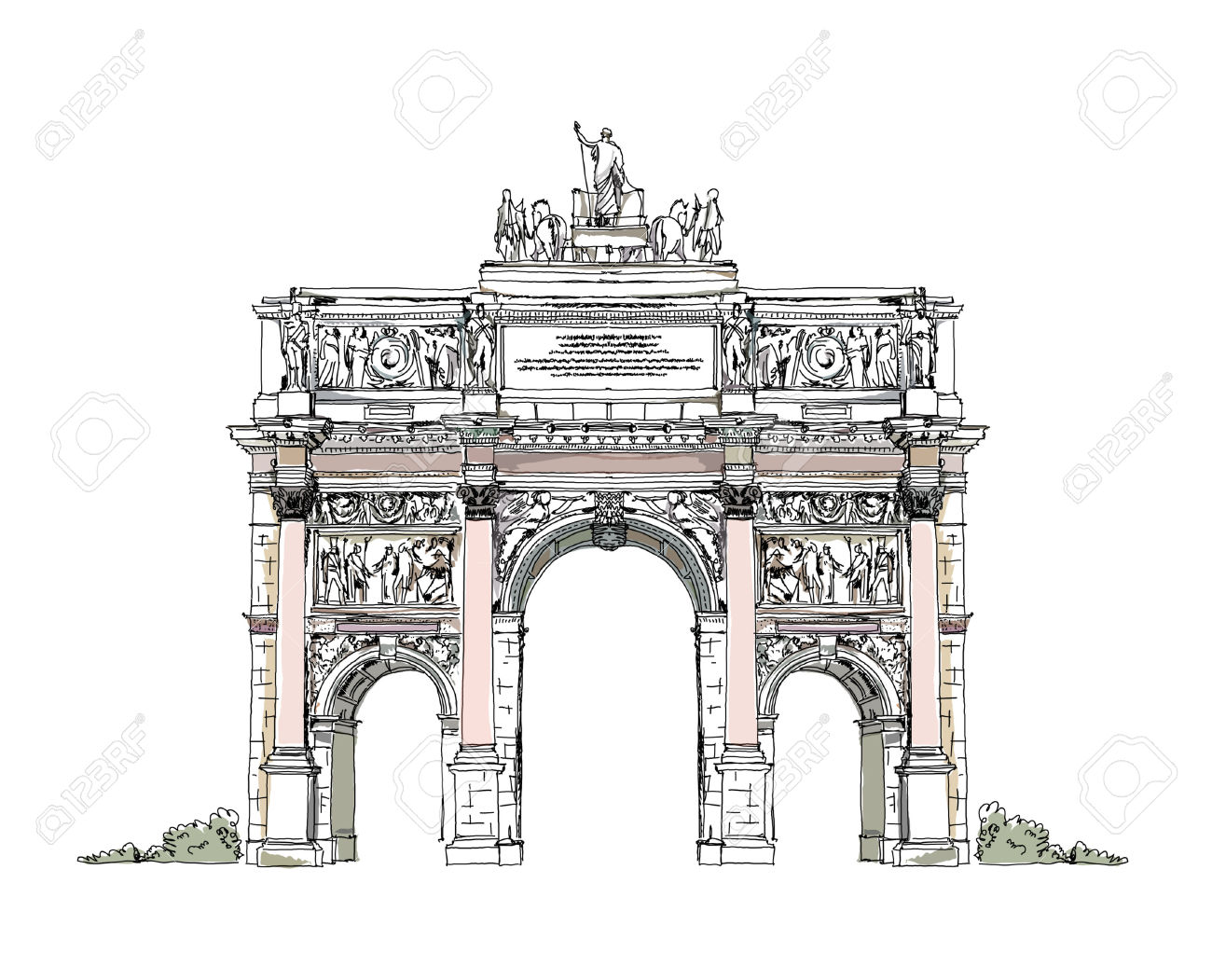 Paris, Triumphal Arch Royalty Free Cliparts, Vectors, And Stock.