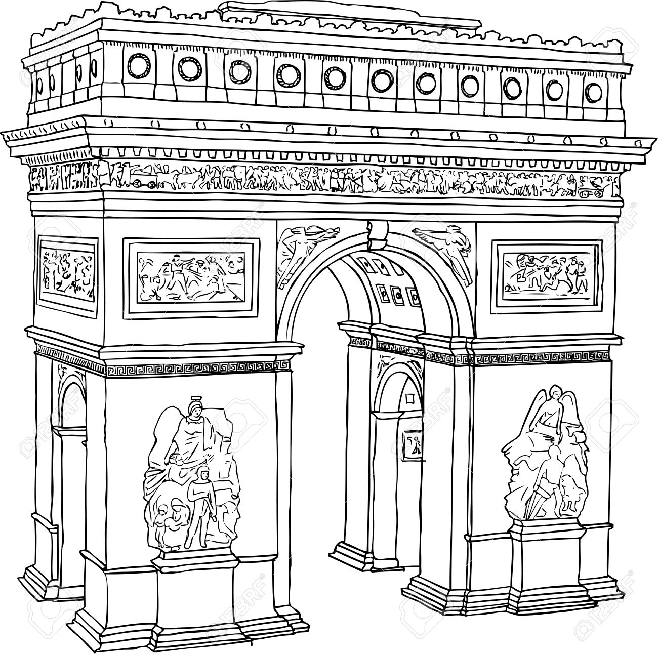 Hand Drawn Illustration Of Paris Triumph Arc Royalty Free Cliparts.