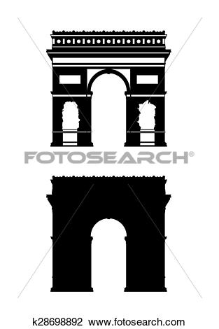 Clip Art of paris triumphal arch silhouettes set k28698892.
