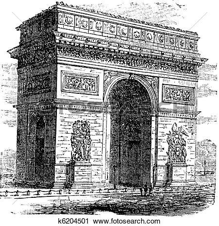 Clipart of Triumphal Arch or Arc de Triomphe, Paris, France.