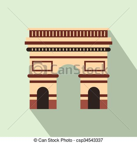 Vectors of Triumphal arch icon, flat style.