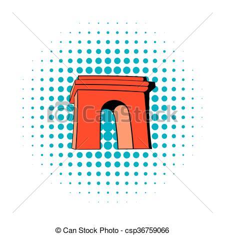 Clip Art Vector of Triumphal arch, Paris icon, comics style.