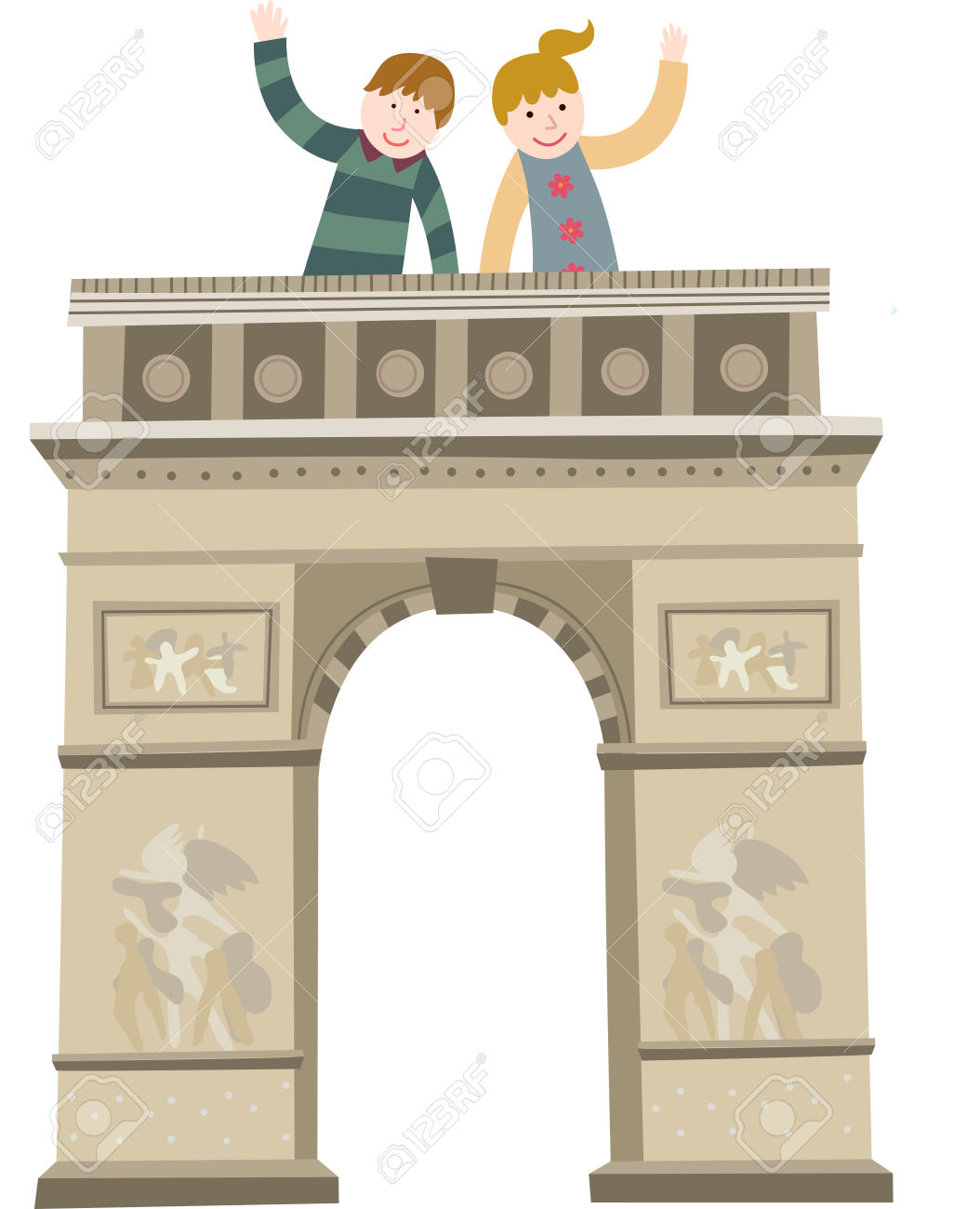 The View Of Triumphal Arch In Paris Royalty Free Cliparts, Vectors.