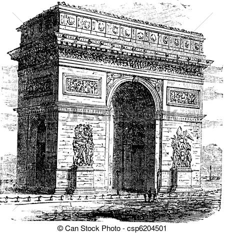 Vector Clip Art of Triumphal Arch or Arc de Triomphe, Paris.