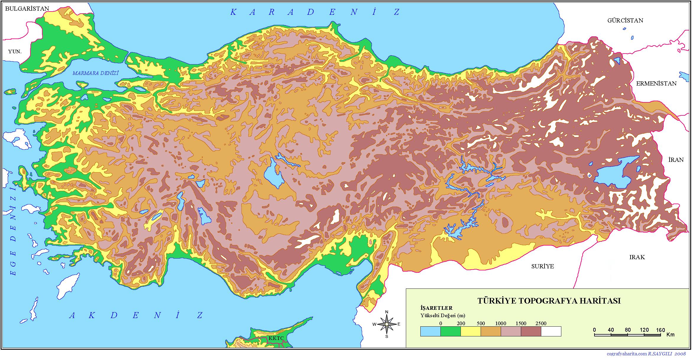 Türkiye\'nin Fiziki Coğrafya Haritaları.