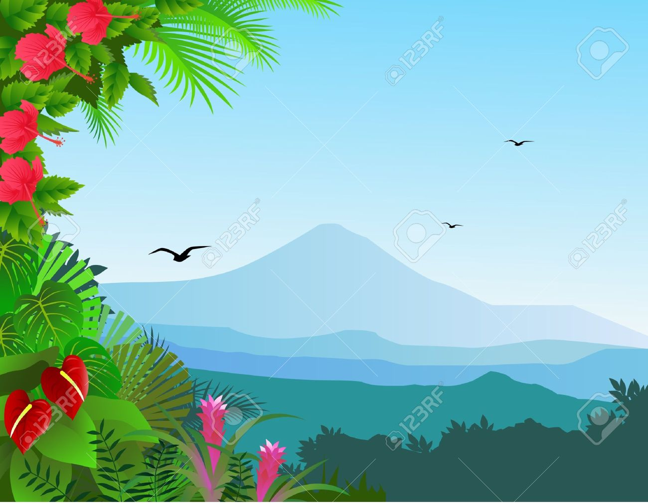 Tropical Rainforest Background Clipart.