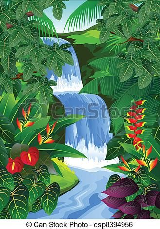 Clip Art Vector of Tropical forest background.