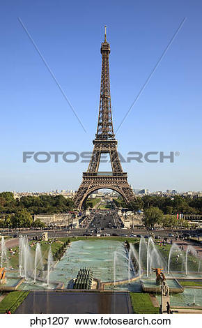 Picture of Eiffel Tower and Trocadero Gardens in Paris, France.