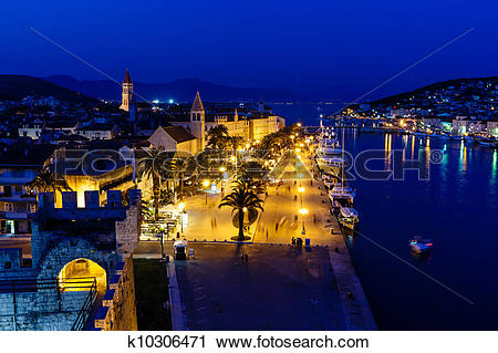 Stock Photography of Aerial View on Illuminated Ancient Trogir in.