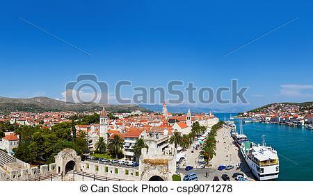 Pictures of Panorama of Trogir in Croatia.