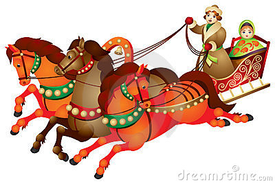 Troika, Traditional Russian Harness Driving Royalty Free Stock.