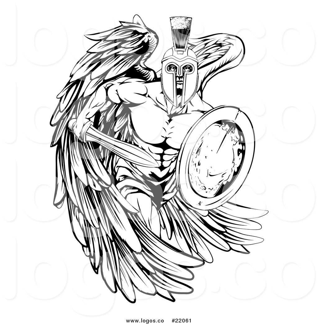 Vector Logo of a Black and White Spartan Trojan Warrior.