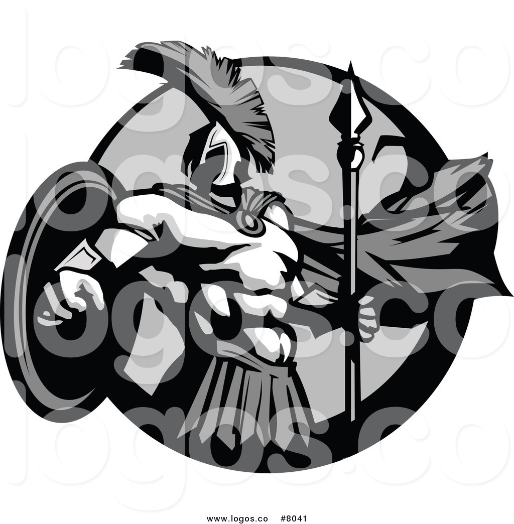 Royalty Free Clip Art Vector Logo of a Grayscale Strong.