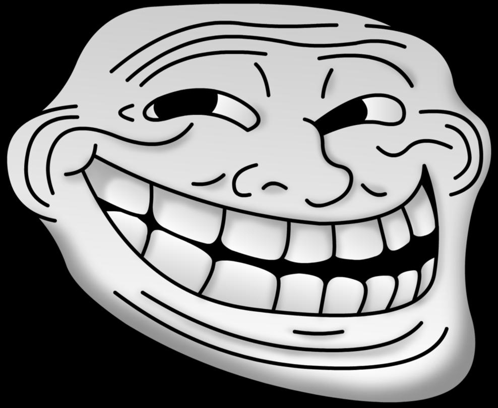 Filled Troll Face transparent PNG.