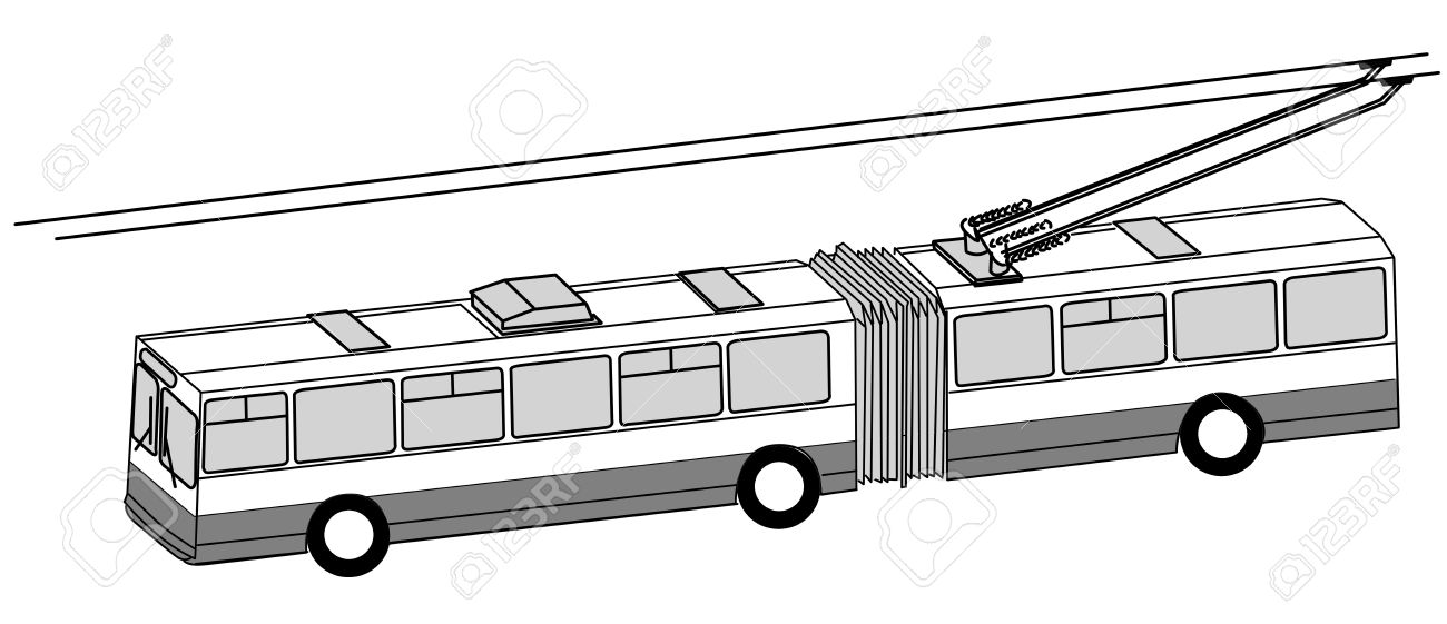 Trolley Bus Silhouette On White Background, Vector Illustration.