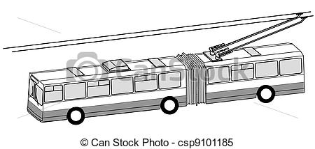 Clipart Vector of trolley bus silhouette on white background.