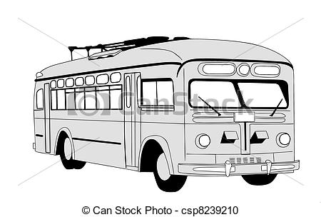 Vector Clipart of trolley bus silhouette on white background.
