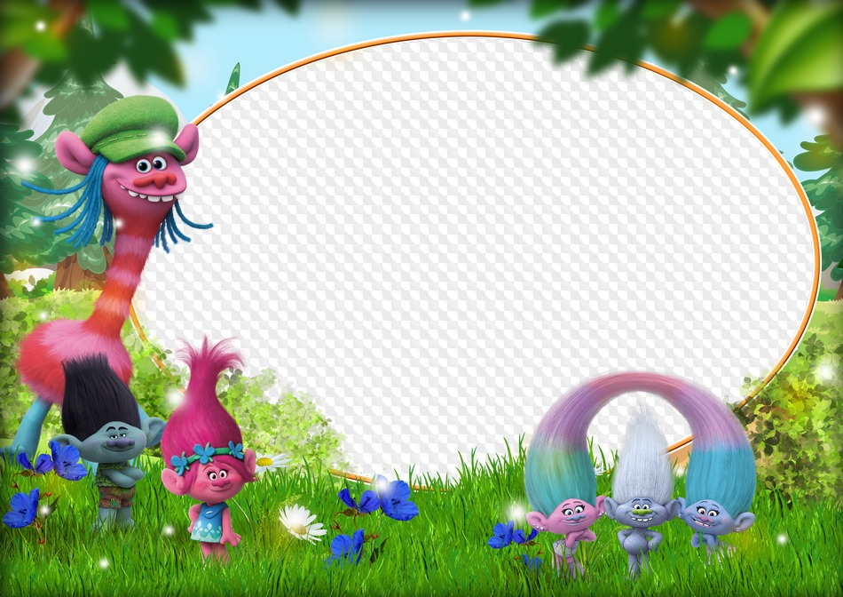 PSD, PNG, Photo frame Heroes Cartoon Trolls. Transparent PNG.