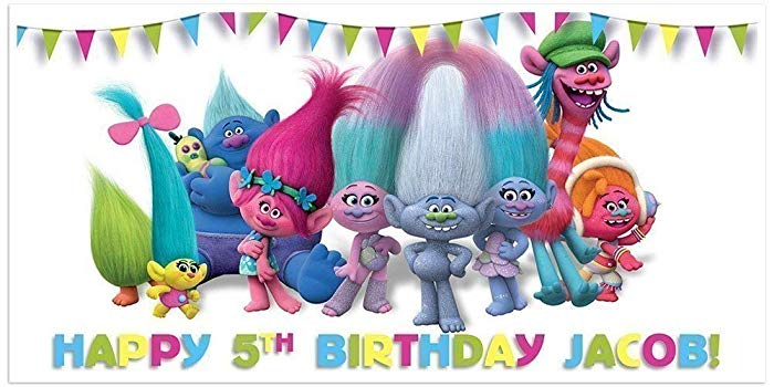 Trolls Birthday Banner Personalized Party Decoration Backdrop.
