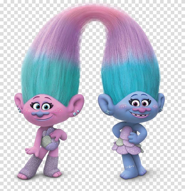 Two pink and blue trolls characters, DJ Suki Trolls, troll.