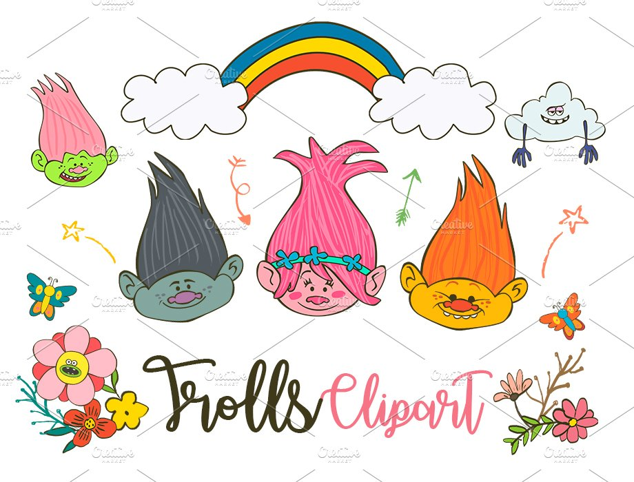 Trolls Clipart Poppy PNG elements.