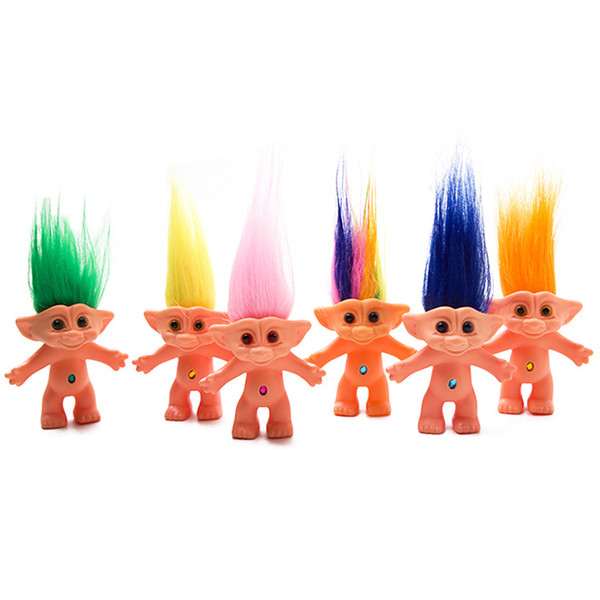 Colorful Hair Troll Dolls 10cm Size No Cloth Action Figures Doll Super Cute  Long Hair Lucky Trolls Toy Gifts For Kids Toys Gift Wardrobe For Dolls.