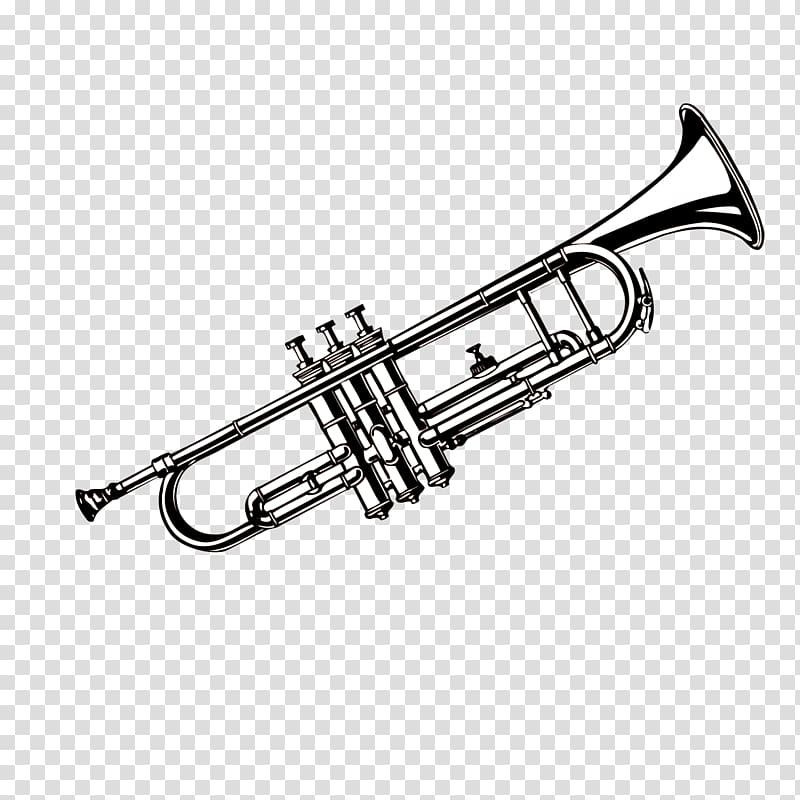 Trumpet illustration, Trumpet Musical instrument, Black and.