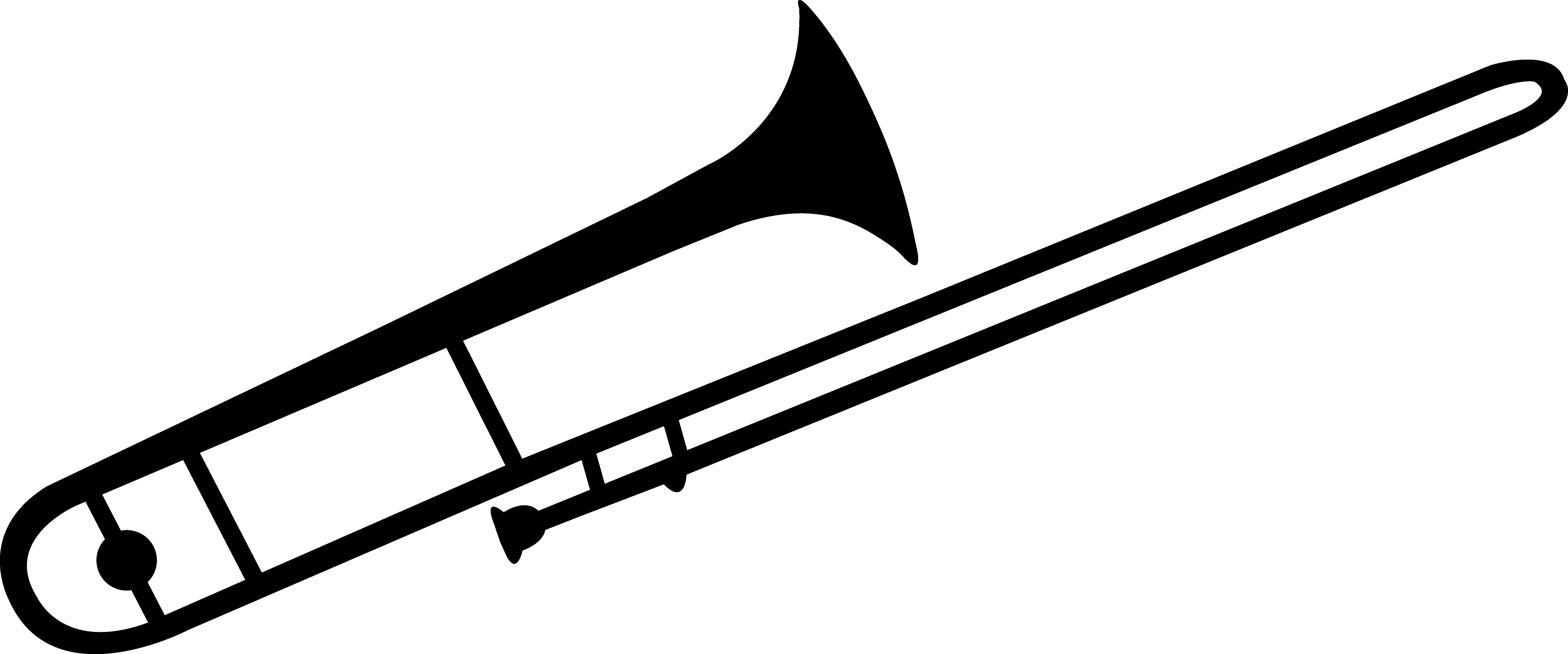 Black Trombone Silhouette.