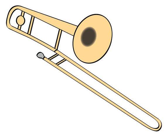Trombone Vector Illustration Digital Download Music Clip Art.