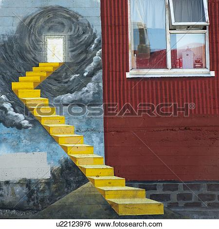 Stock Images of Painted trompe l'oeil staircase beside open window.