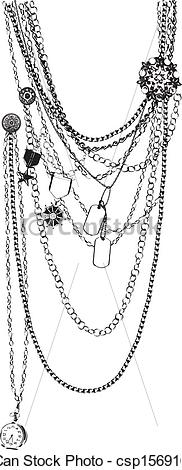 EPS Vector of vector necklace trompe l'oeil.