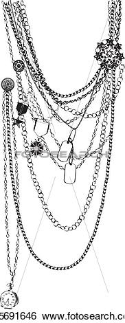 Clip Art of vector necklace trompe l'oeil k15691646.
