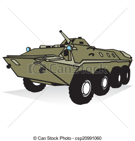 Clip Art Vector of Armored troop.