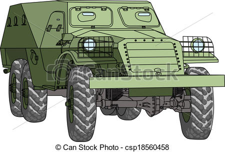 Clipart Vector of vector armored troop.