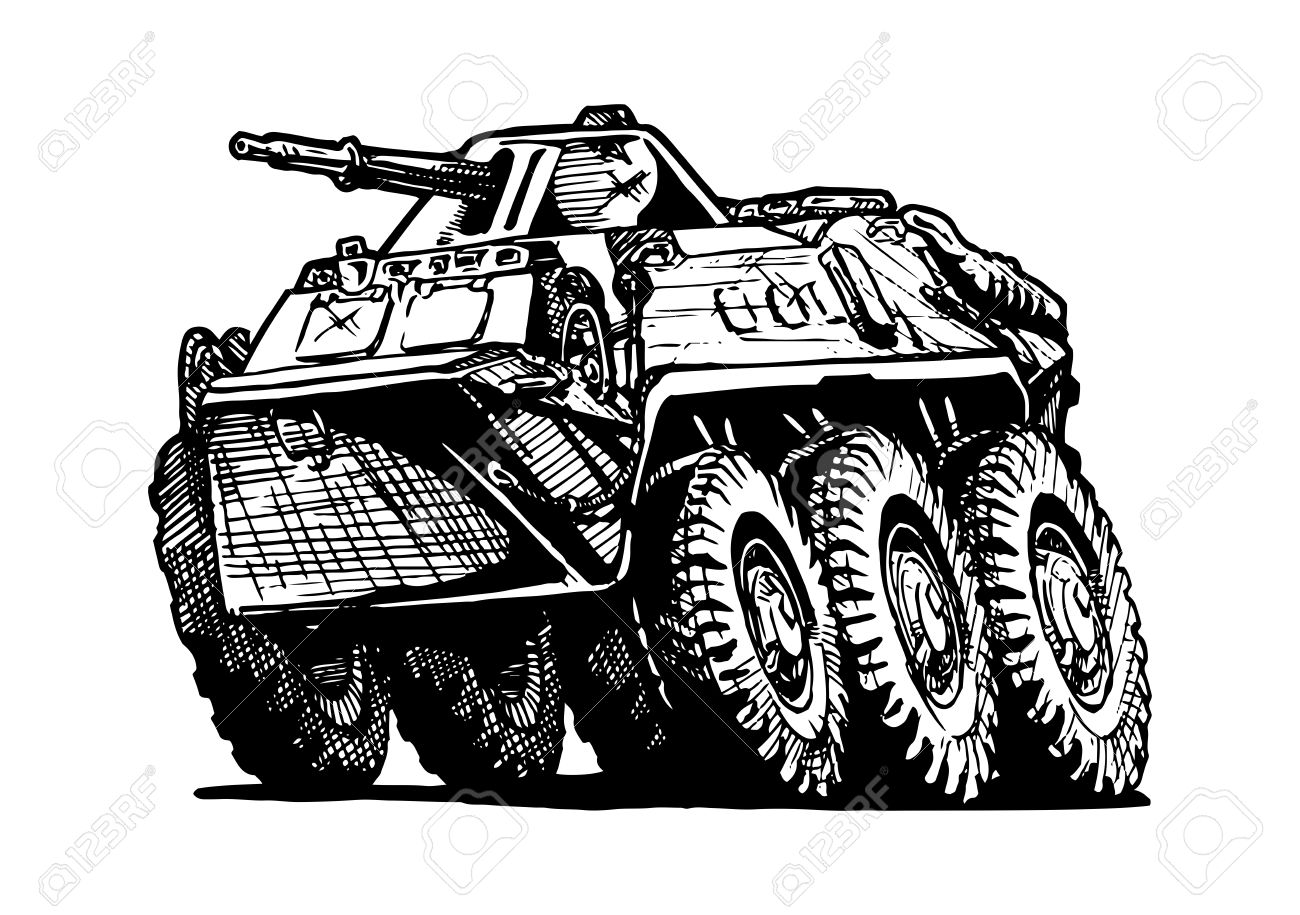 Vector Illustration Of Armored Troop.