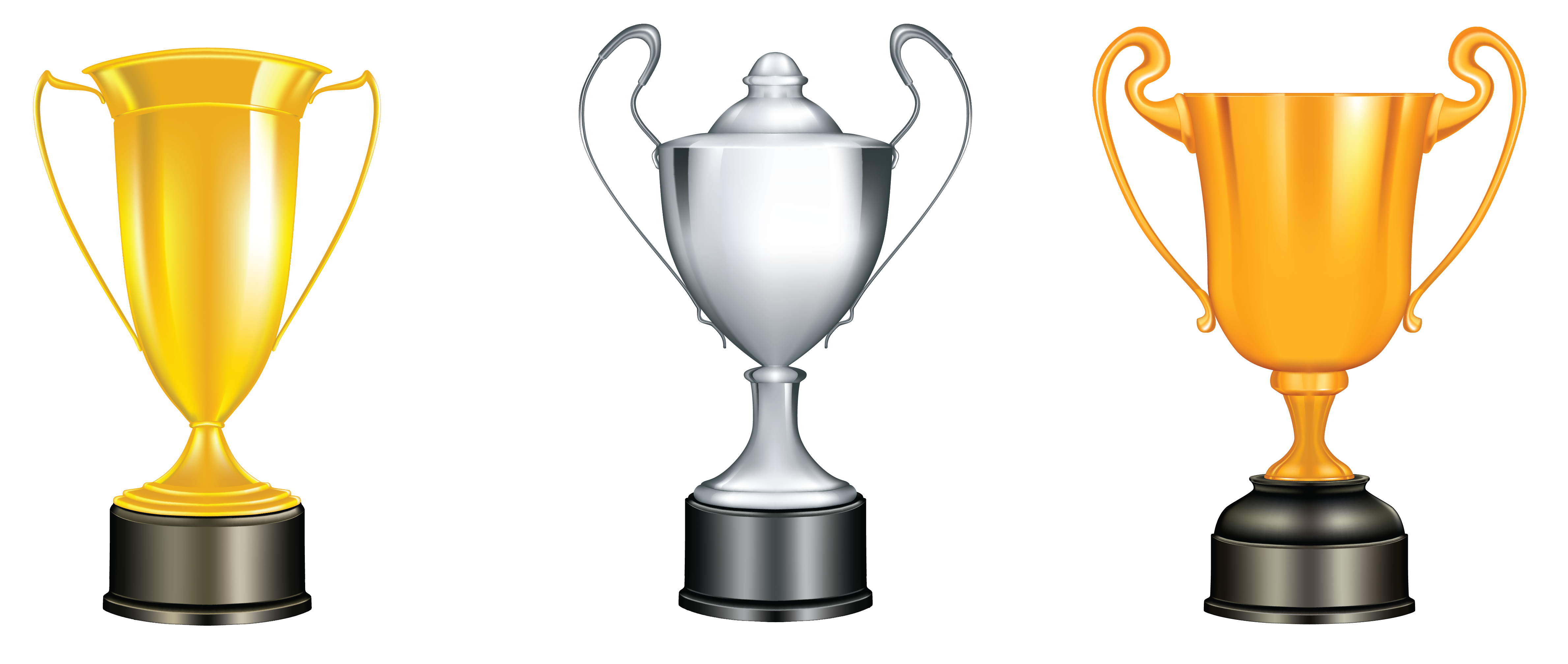 Gold Silver Bronze Trophies PNG Clipart.