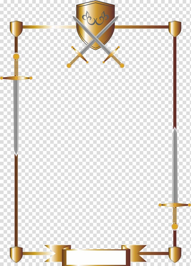 Long sword frame illustration, Sword Shield Knight Coat of.