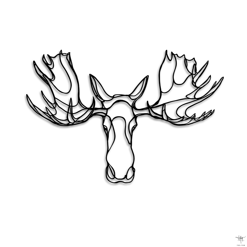Design sign Moose Head Trophy drawing animal wall art designed by.