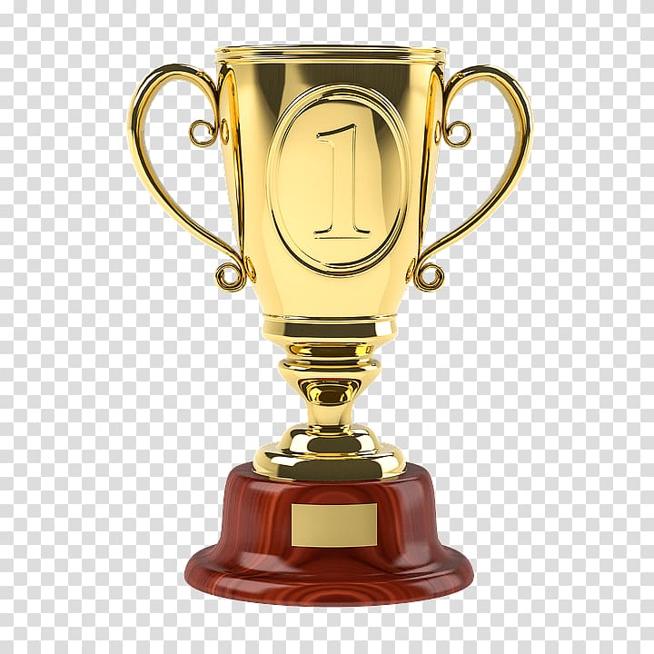 Gold trophy, Gold Cup First One transparent background PNG.