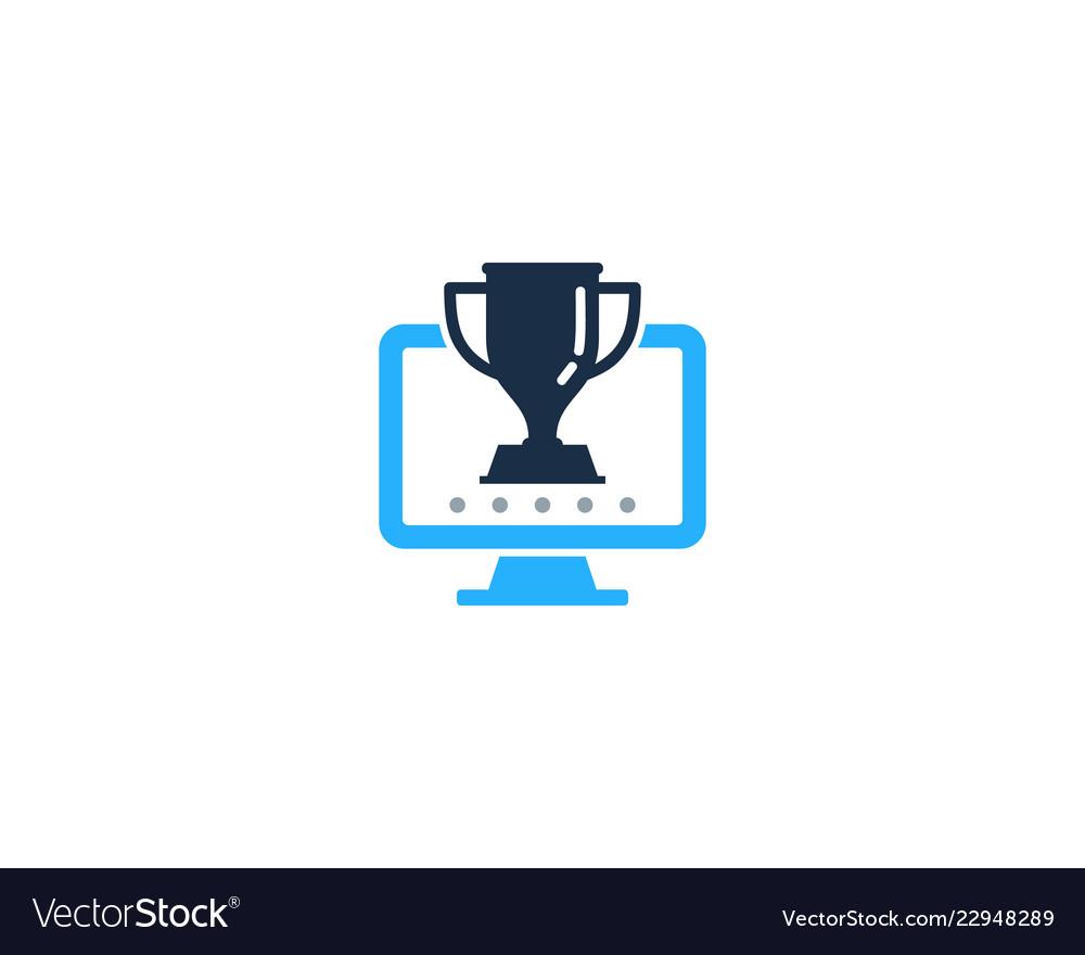 Computer trophy logo icon design.