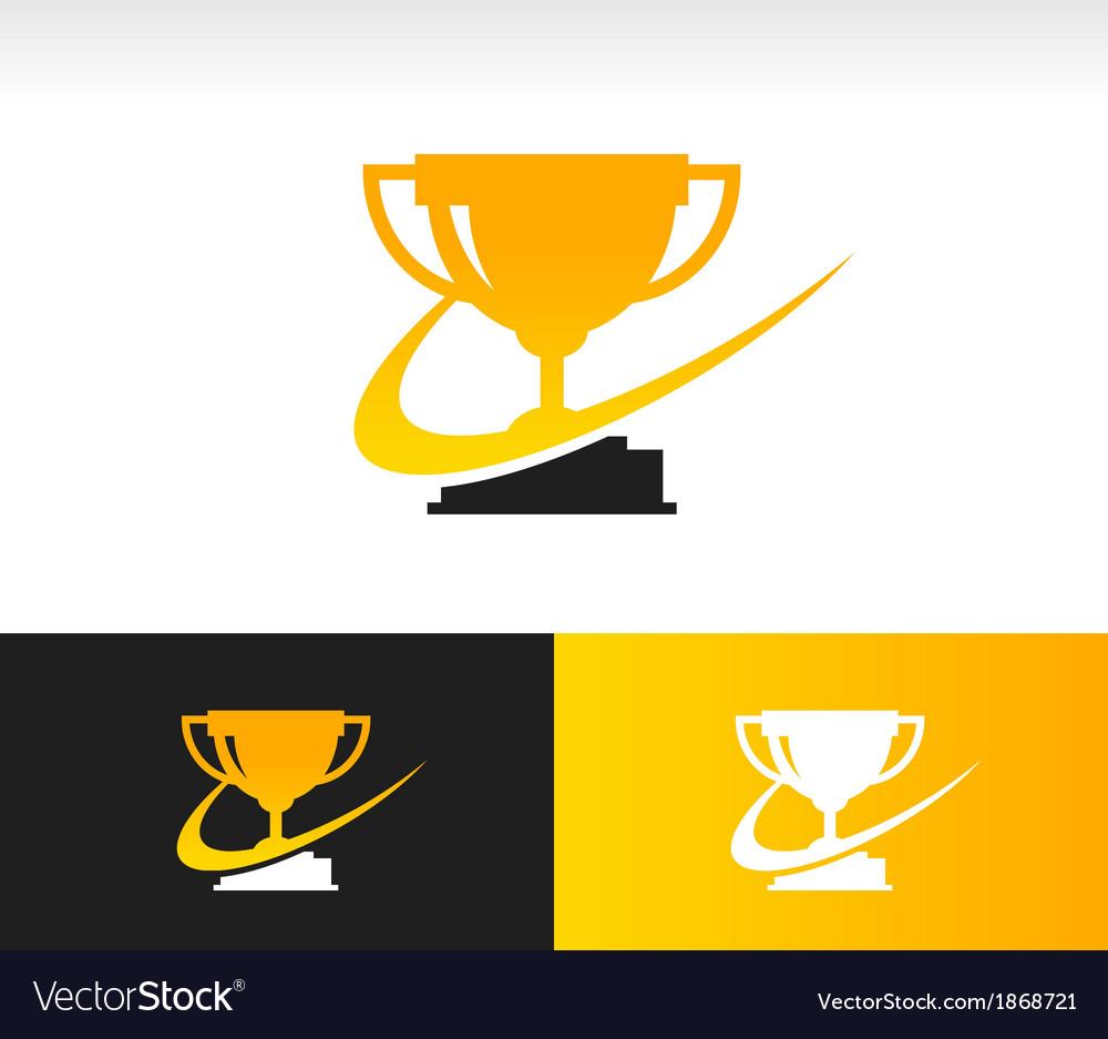 Swoosh Trophy Logo Icon.