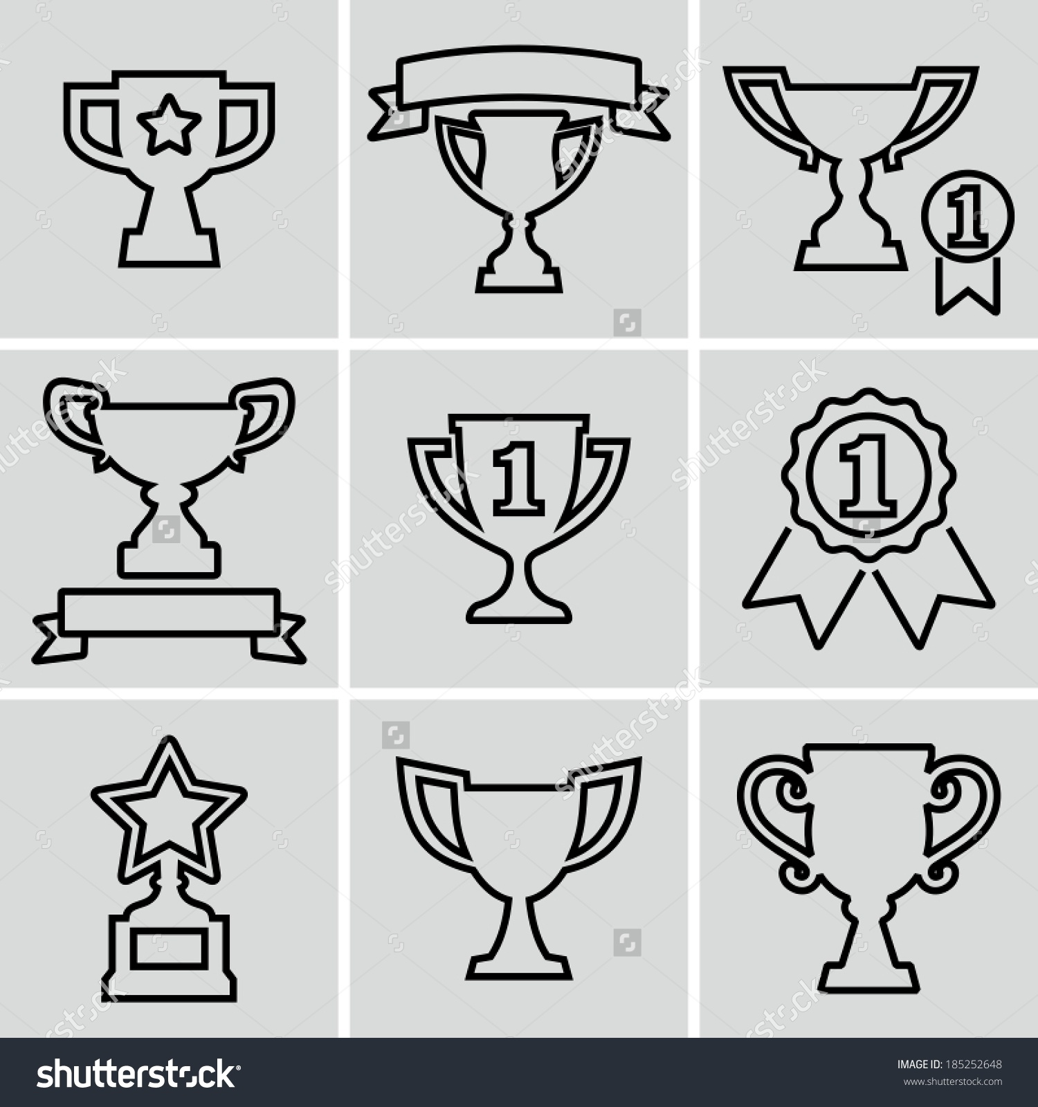 Trophy Icons Strokes Not Expanded Outlines Stock Vector 185252648.