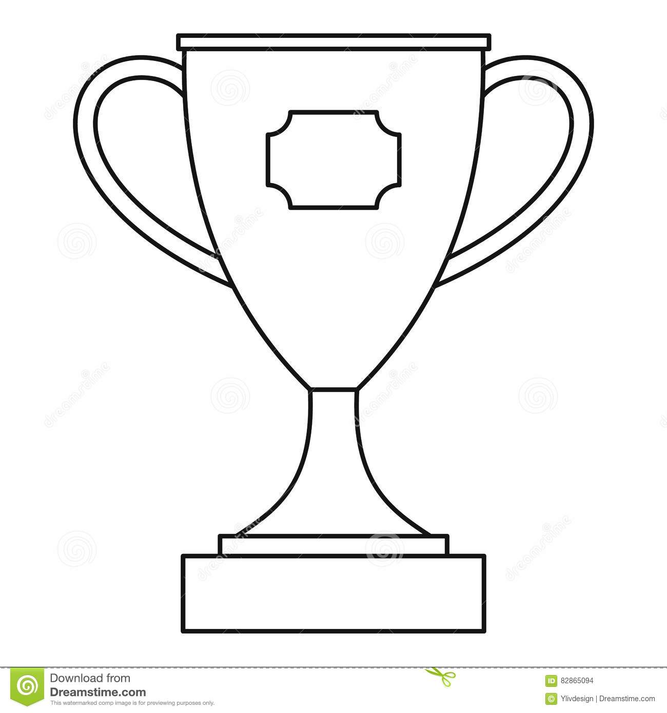 Trophy Cup Award Icon, Outline Style Stock Vector.