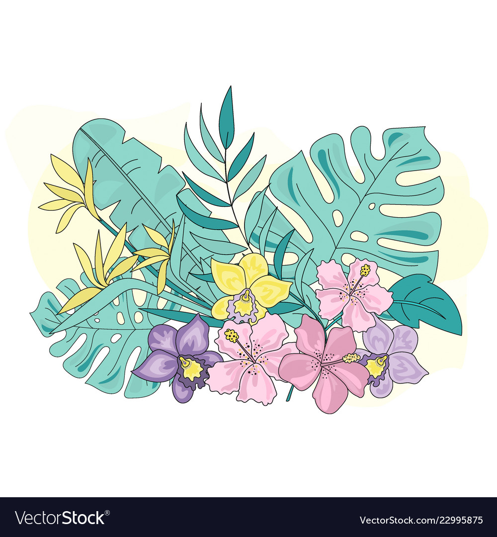 Tropic flowers sea travel clipart color.