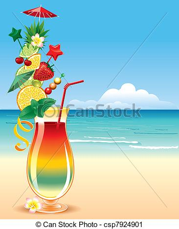 Vector Clip Art of Tropical cocktail, in a richly decorated glass.